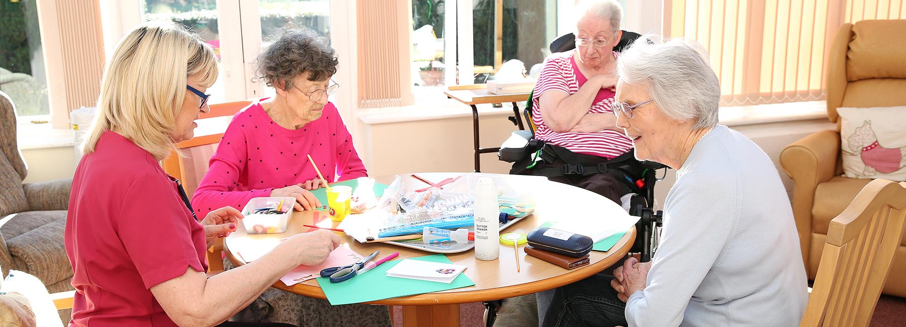 residents doing crafts
